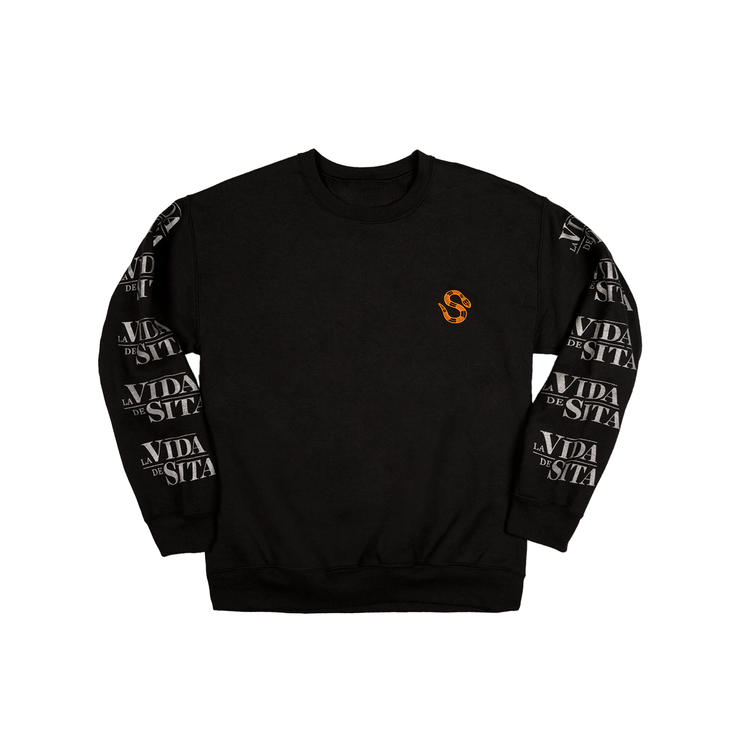 La Vida de Sita black Crewneck Long-sleeved back printed