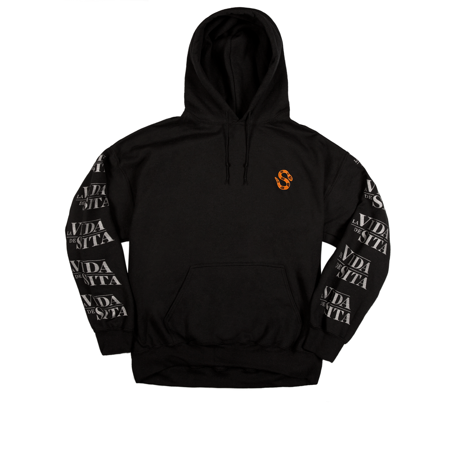 La Vida de Sita black hoodie  Black back printed